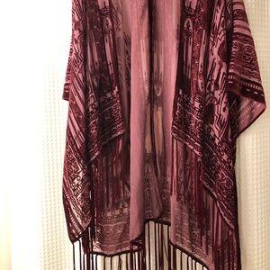 Velvet Kimono with Fringe